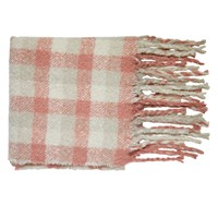 May Plaid Scarf in Pink and Beige