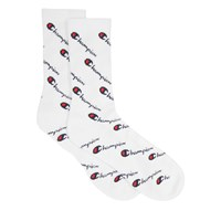 Women's All Over Print Crew Socks in White