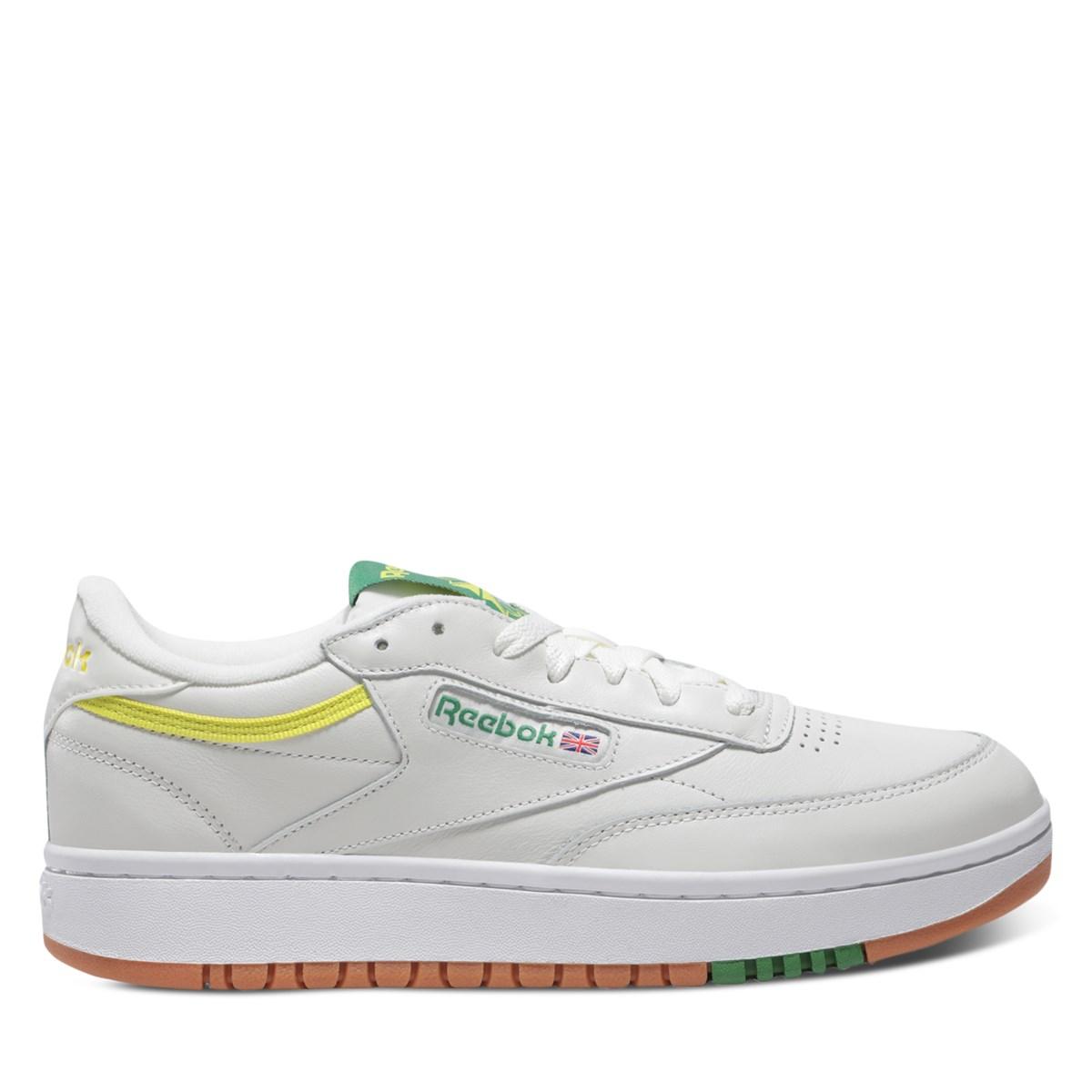 Women's Club C Double Sneakers in White/Green/Yellow
