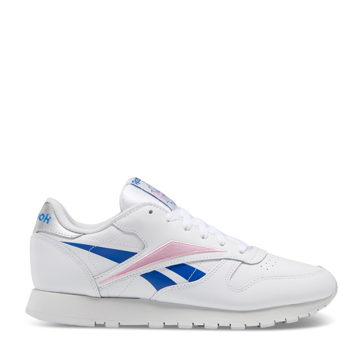 Women's Classic Leather Sneakers in White/Blue/Pink