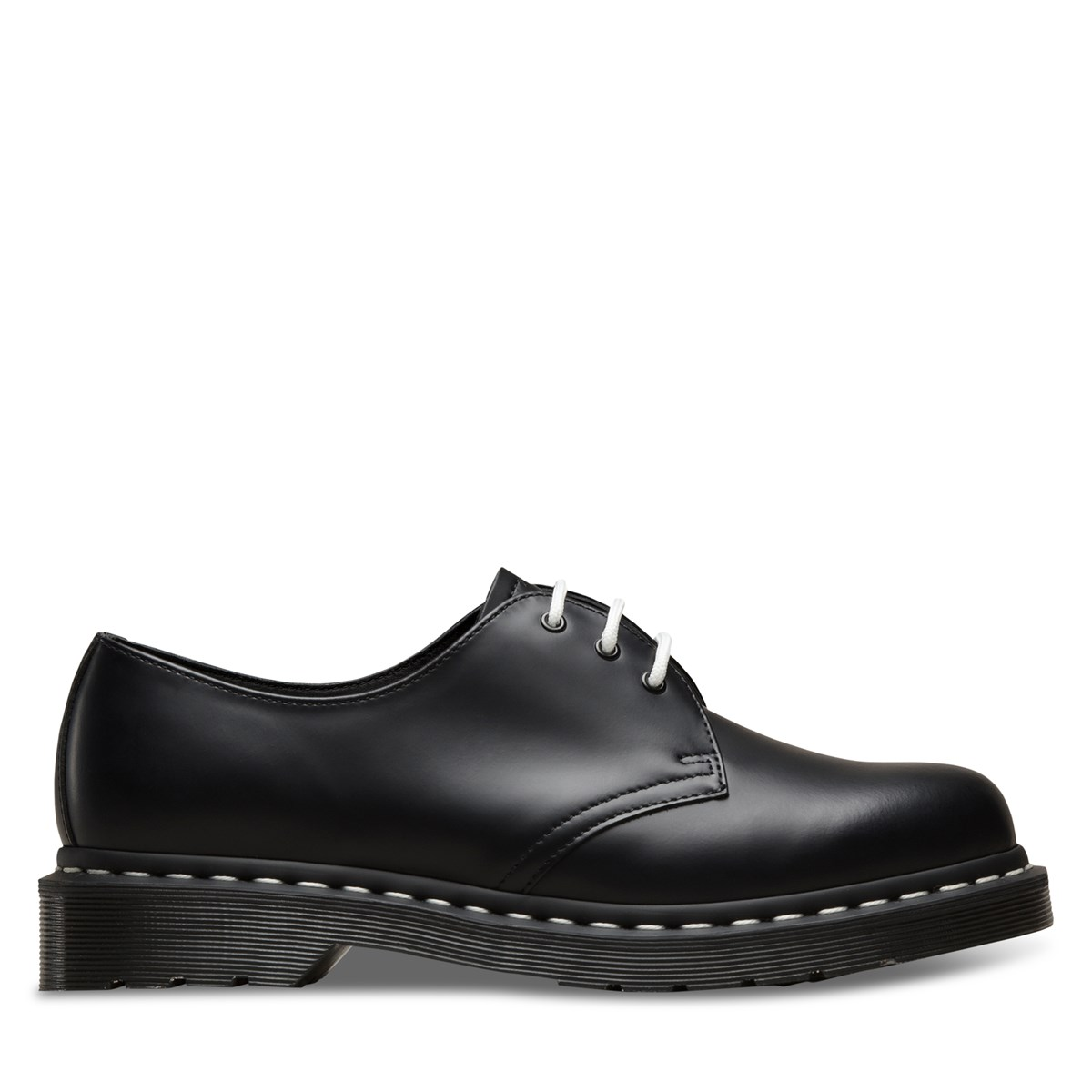 Men's 1461 White Stitch Smooth Shoes in Black