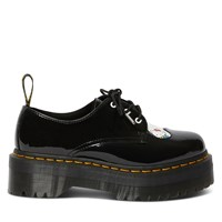 Women's Hello Kitty 1461 Quad Platform Shoes in Patent Black