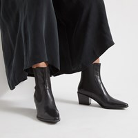 Women's Betsy Leather Boots in Black