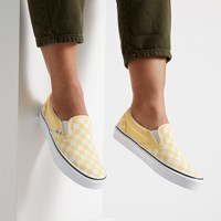Women's Classic Checkerboard Slip-Ons in Yellow
