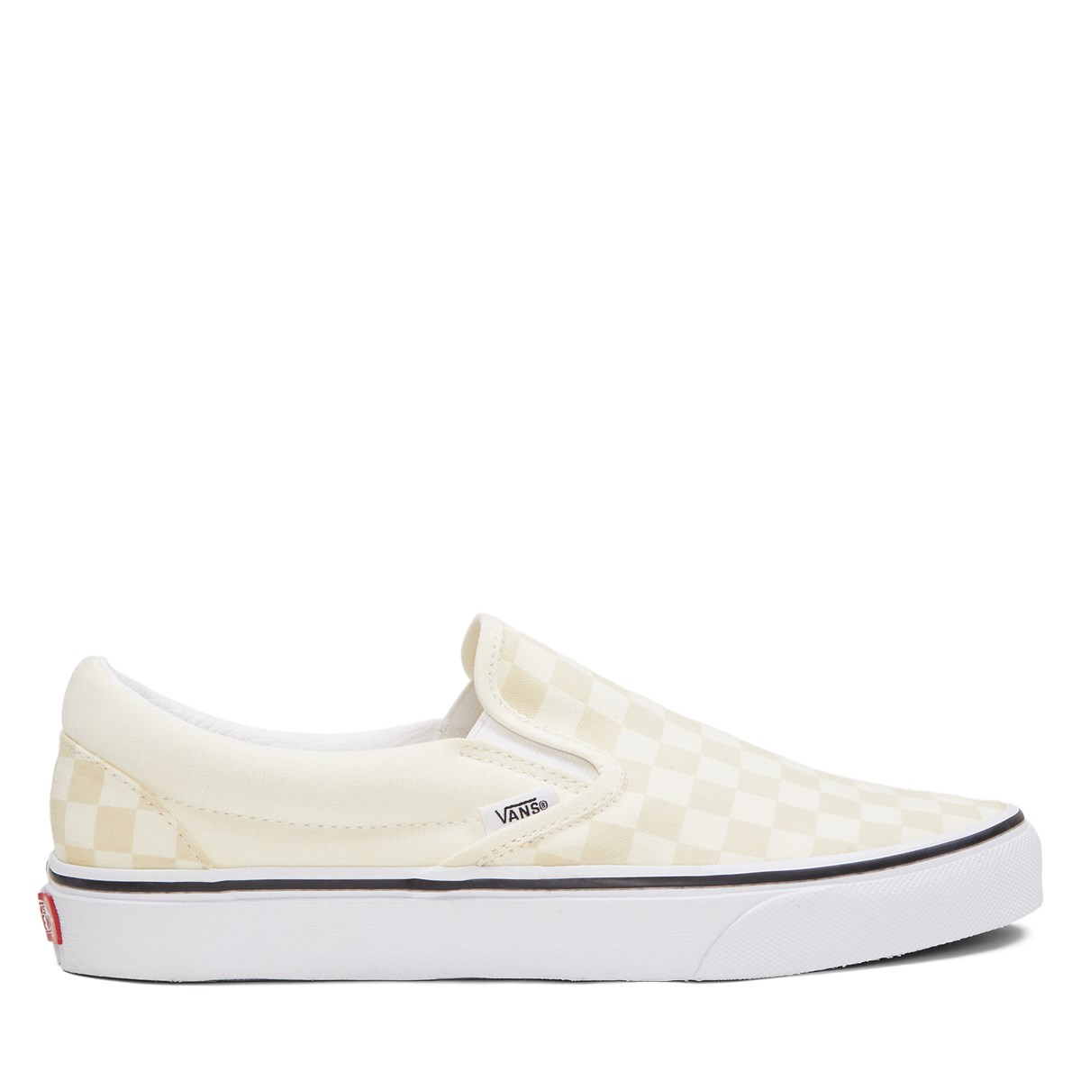 Women's Classic Checkerboard Slip-Ons in Light Yellow