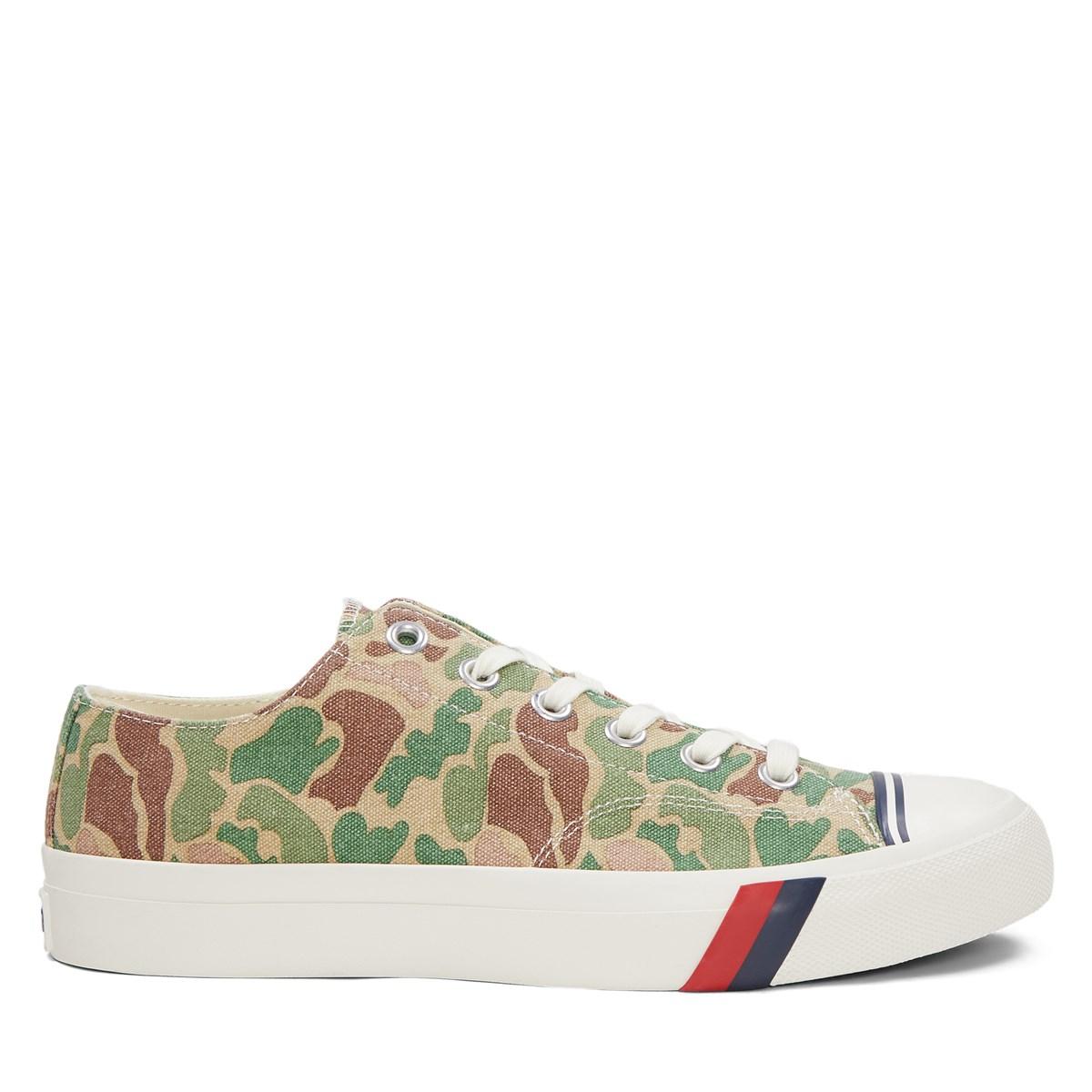 Men's Camo Royal Low Sneakers in Green