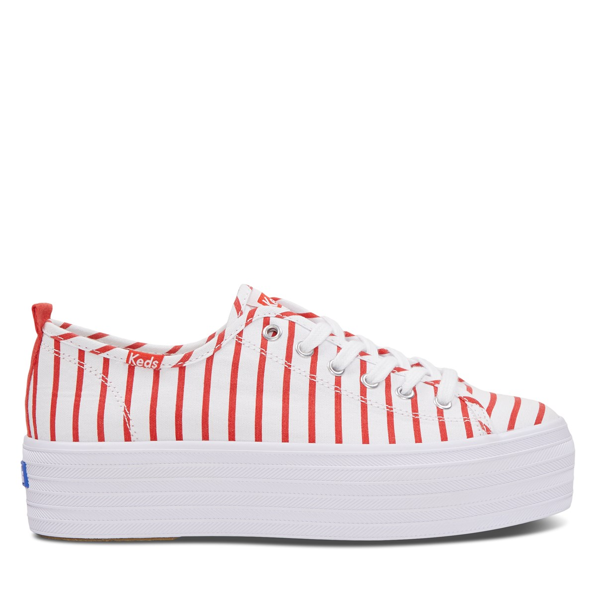 Women's Triple Up Flatforms in Striped Red