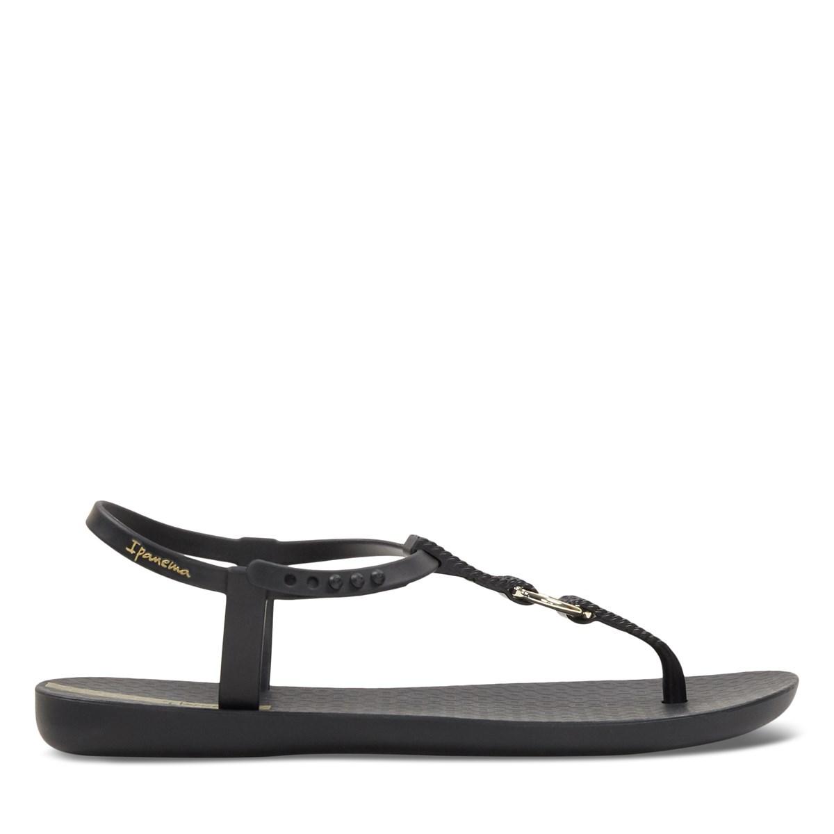 Women's Glass Loop Sandals in Black