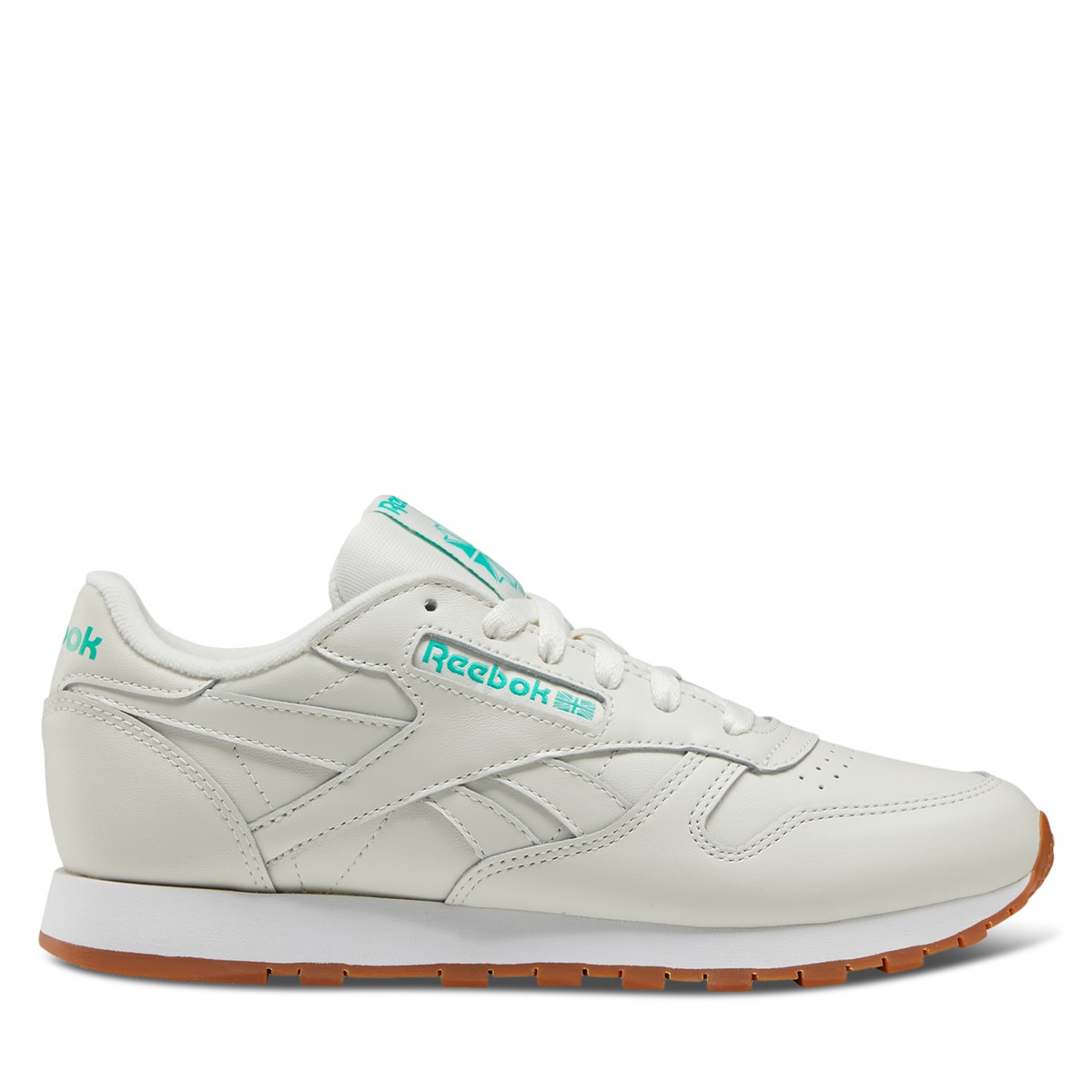 Women's Classic Leather Sneakers in Off-White/Green