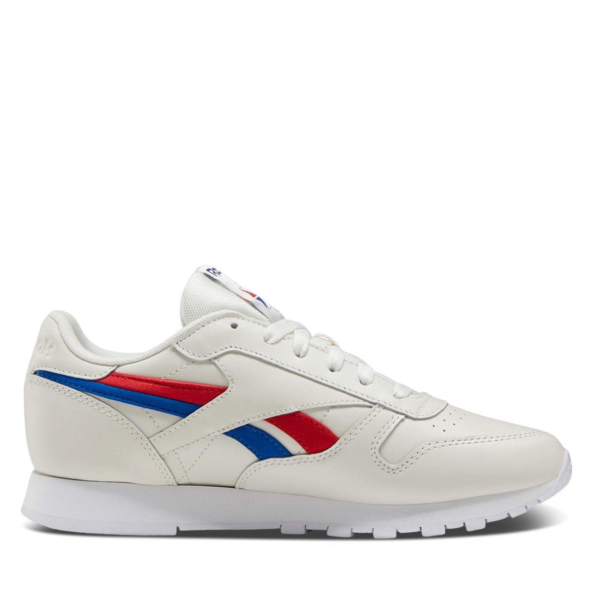 Women's Classic Leather Sneakers in Off-White/Blue/Red