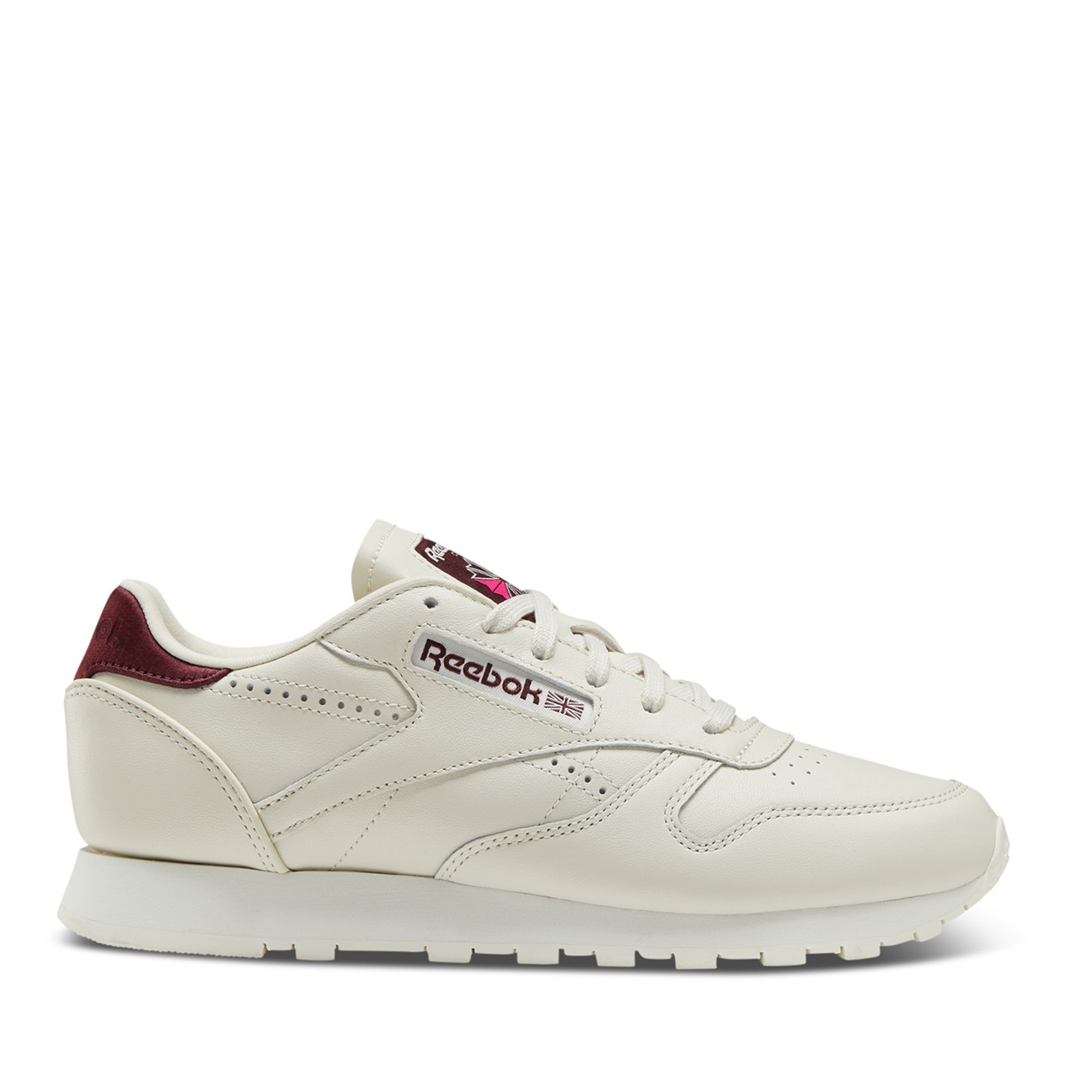 Women's Classic Leather Sneakers in Off-White/Burgundy