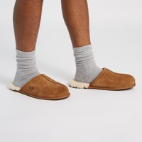 Men's Scuff Suede Slippers in Beige