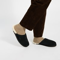 Men's Scuff Suede Slippers in Black