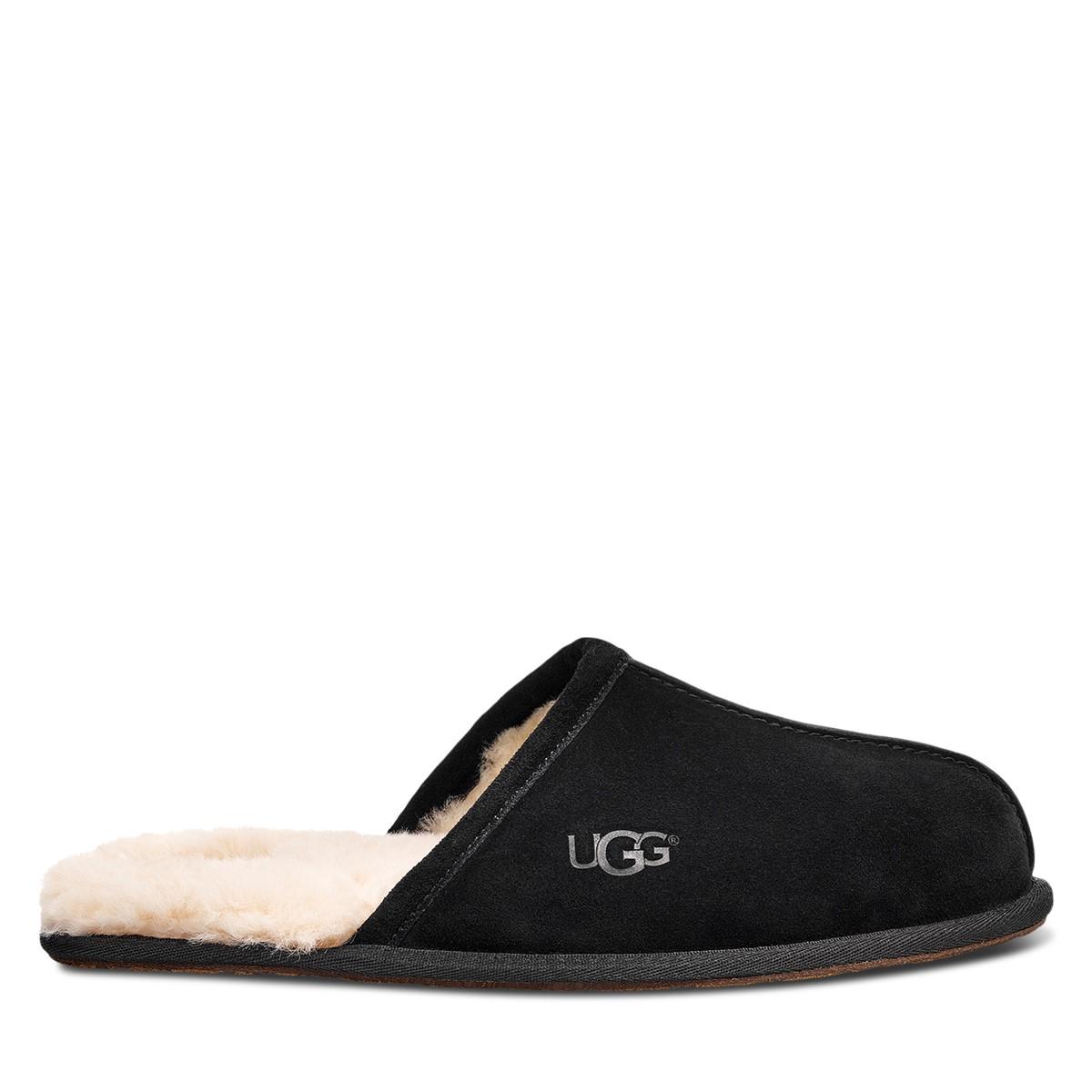 Men's Scuff Suede Slippers in Black