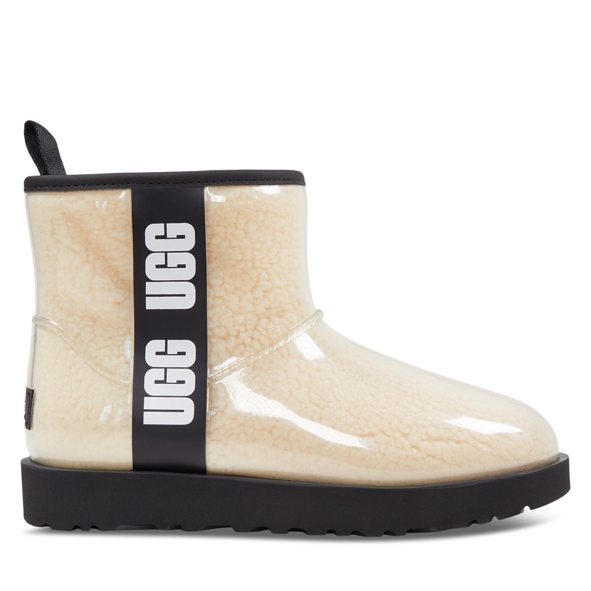 Women's Clear Mini Boots in White