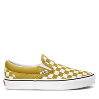 Women's Checkerboard Classic Slip-Ons in Olive Green