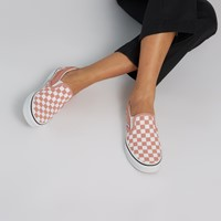 Women's Checkerboard Classic Slip-Ons in Pink