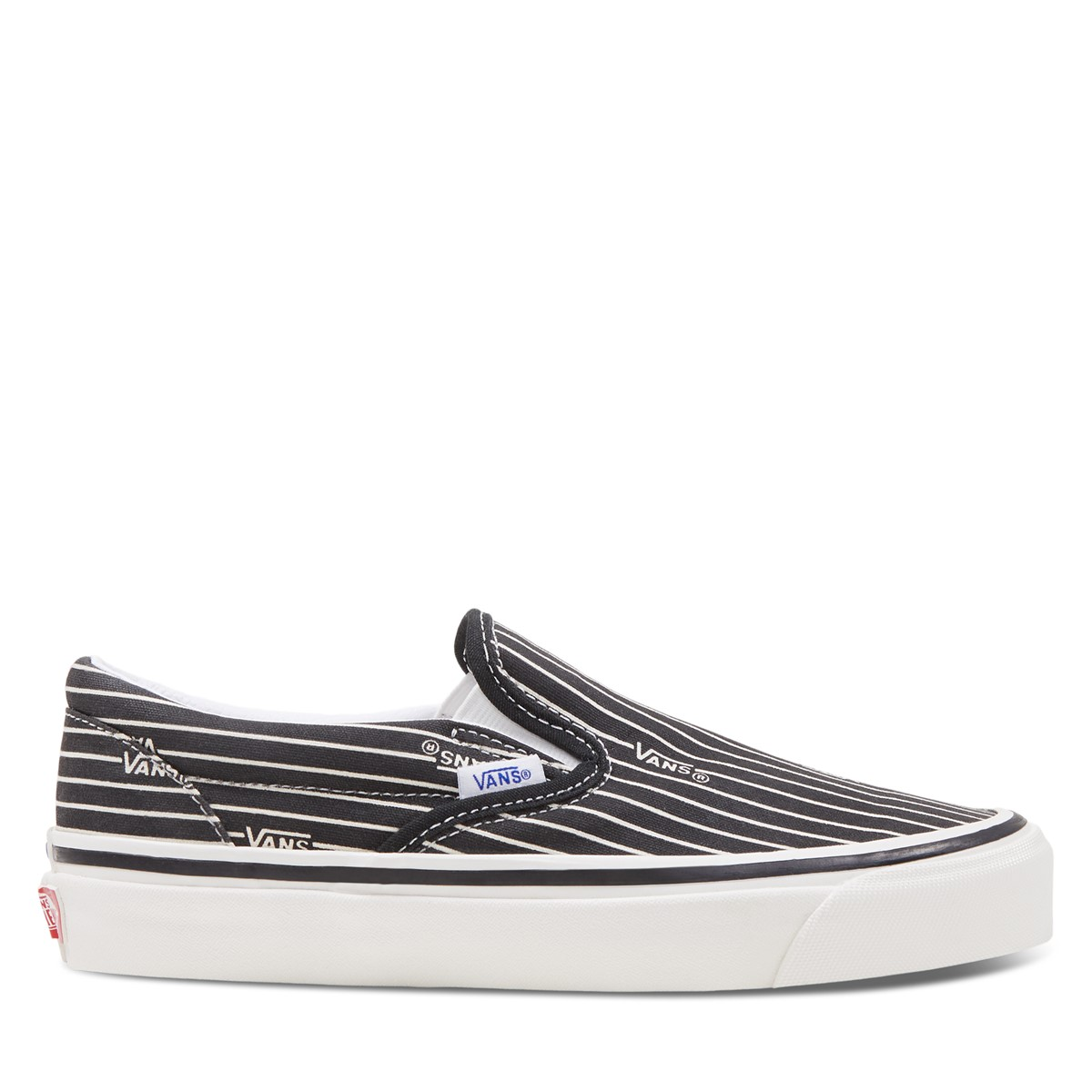 Women's Anaheim Factory Striped Classic 98 DX Slip-Ons Sneakers in Black