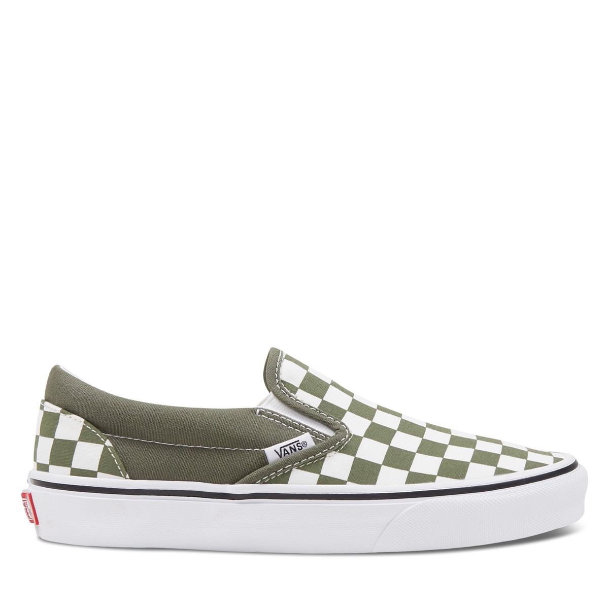Women's Checkerboard Classic Slip-Ons in Forest Green