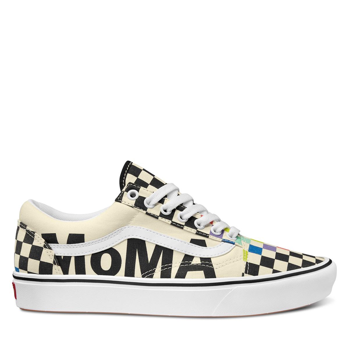 Vans X MoMA Checkerboard ComfyCush Old Skool Sneakers in Cream