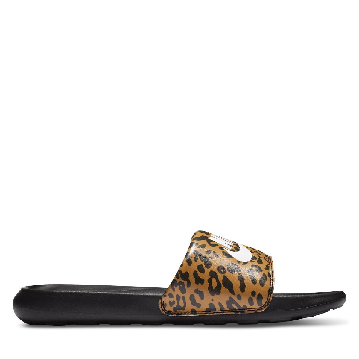 Women's Leopard Victori One Slides in Black