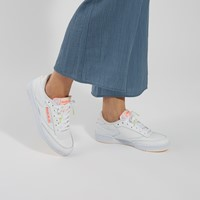 Women's Club C 85 Sneakers in White/Orange
