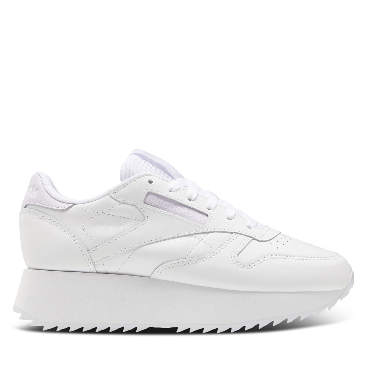 Women's Classic Leather Platform Sneakers in White/Lilac