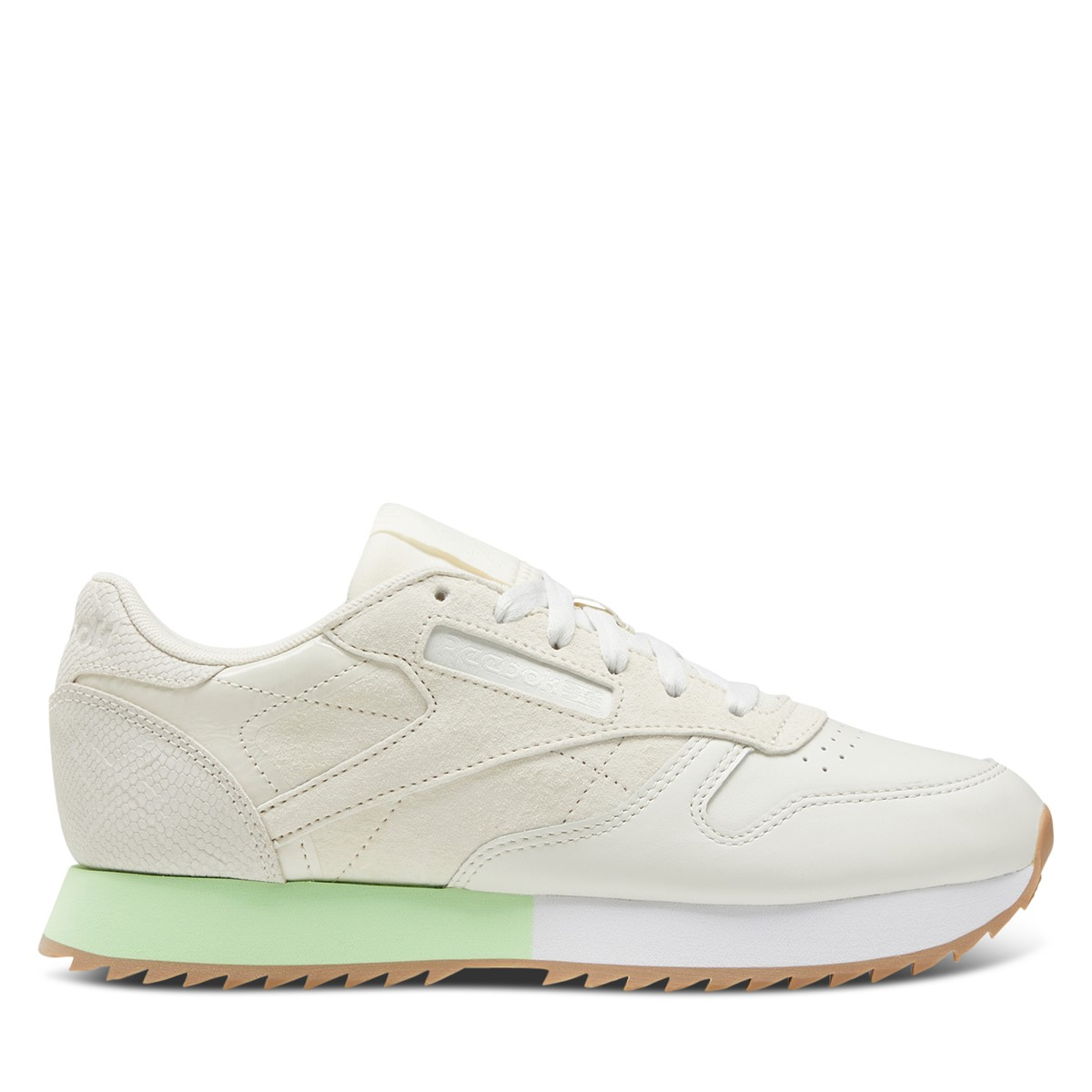 Women's Classic Leather Sneakers in Off-White/Neon Green