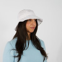 How to Duffy Checkerboard Bucket Hat in White/Pink