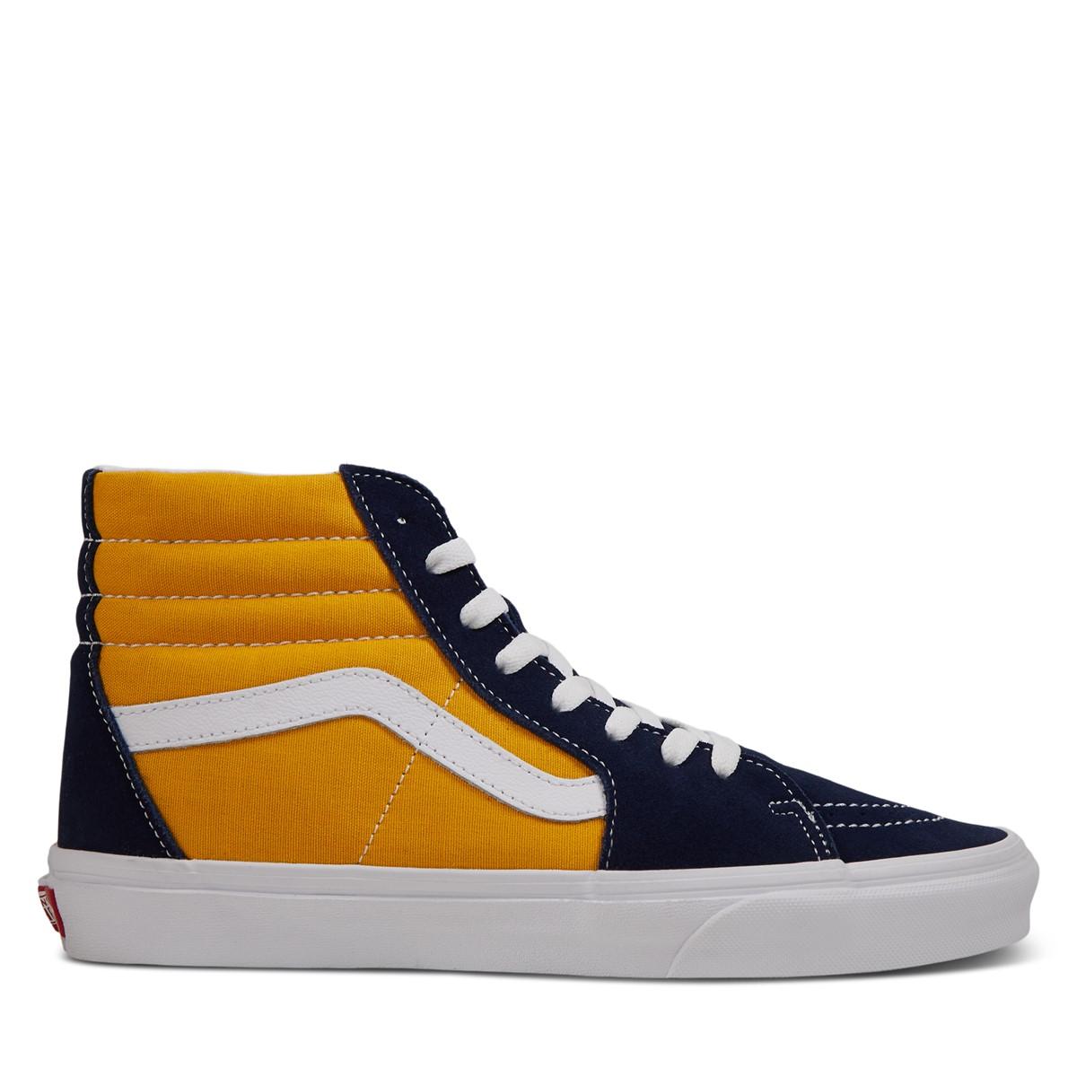 Men's Sk8-Hi Sneakers in Navy Blue/Yellow