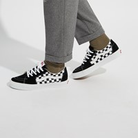 Men's Checkerboard Sk8-Low Sneakers in Black/White