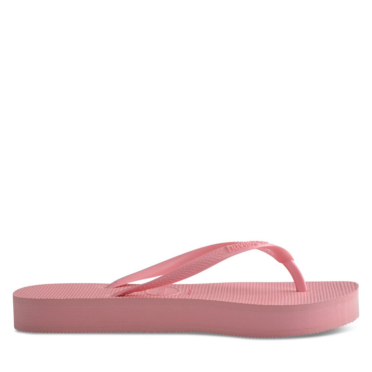 Women's Slim Flatform Sandals in Macaron Pink