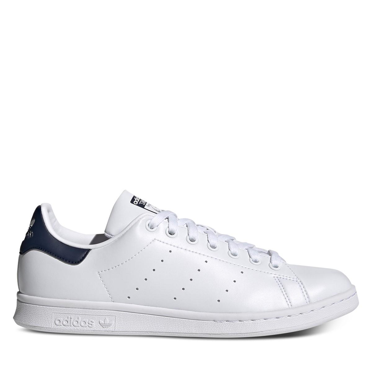 Men's Stan Smith Primegreen Sneakers in White/Navy Blue