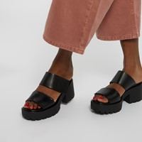 Women's Dioon Heeled Slip-On Sandals in Black
