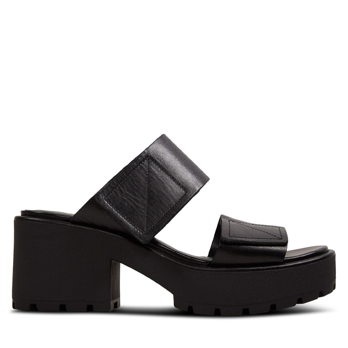 Women's Dioon Heeled Slip-On Sandals in Black