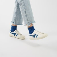Women's Coaster Velcro Sneakers in White and Blue