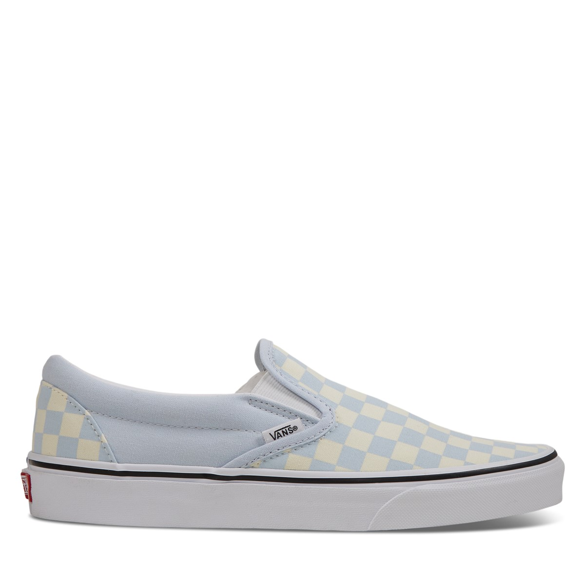 Checkerboard Classic Slip-Ons in Light Blue