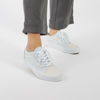 Women's Checkerboard Old Skool Sneakers in Light Blue/Pink