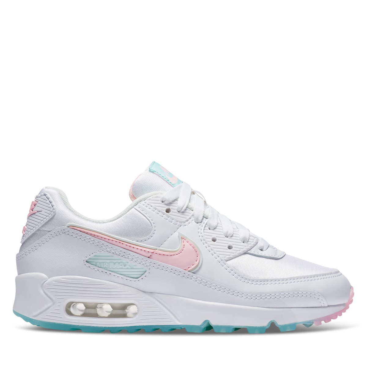 Women's Air Max 90 Sneakers in White/Baby Pink/Mint green