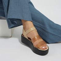 Women's 18059 Future Platform Sandals in Beige/Black