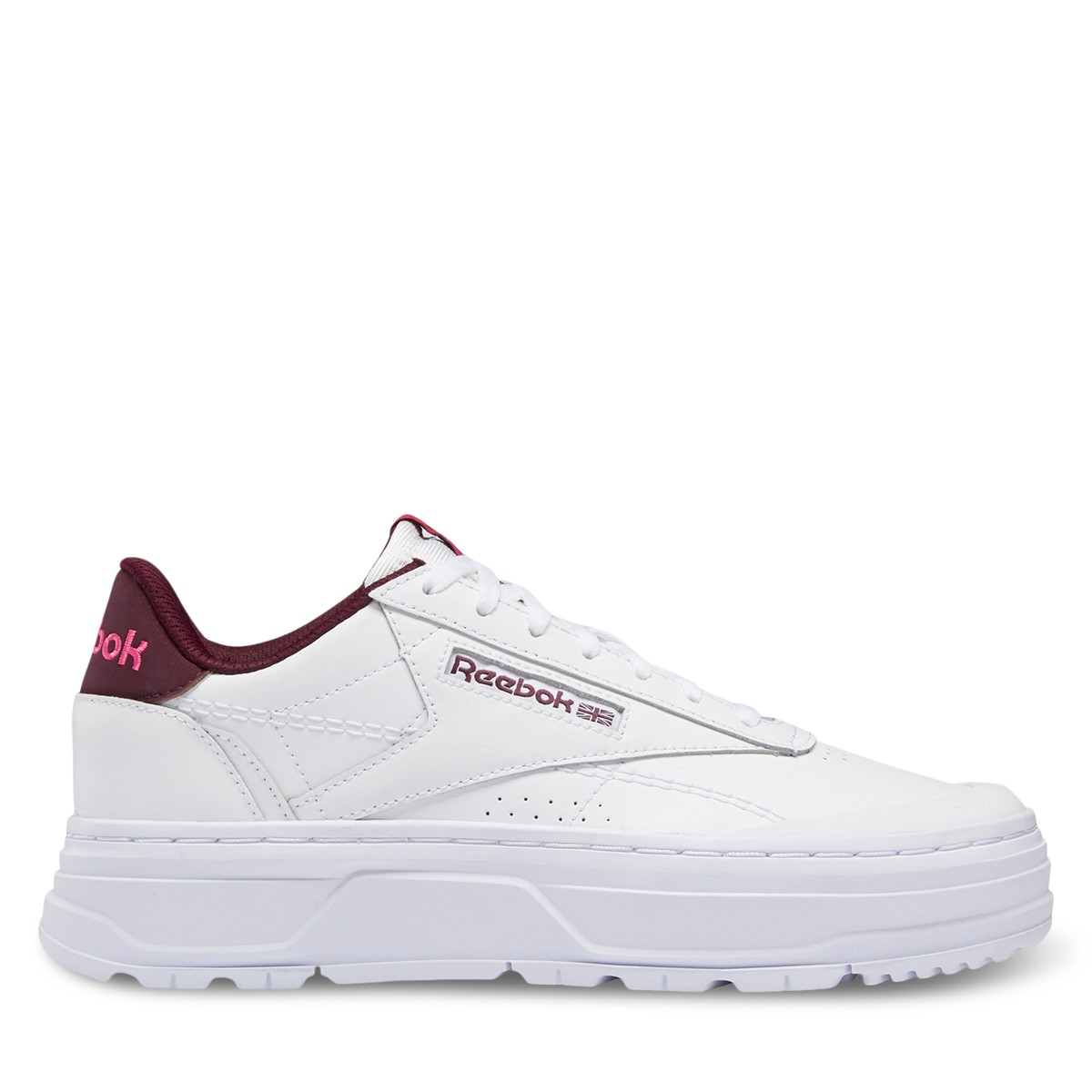 Women's Club C Double GEO Platform Sneakers in White/Red