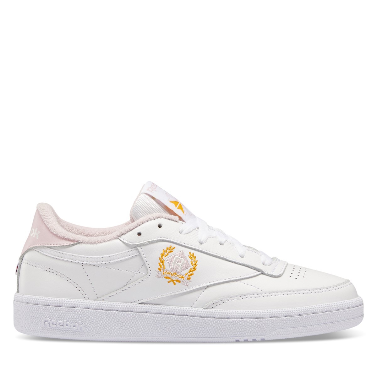 Women's Club C Crest Sneakers in White/Pink