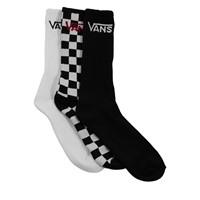 3 paires de chaussettes Crew classiques blanches, noires et à damier pour hommes