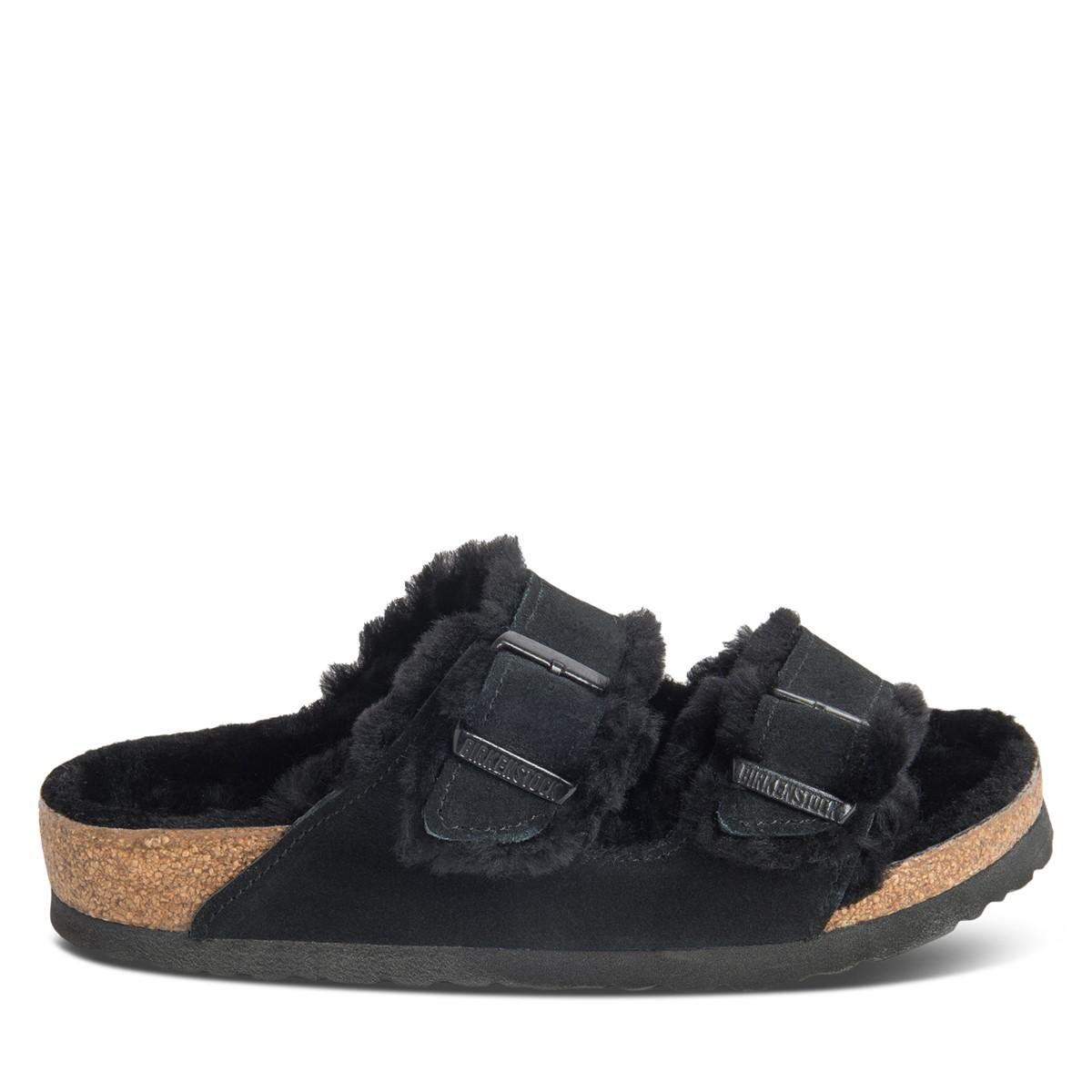 Women's Arizona Shearling Sandals in Black