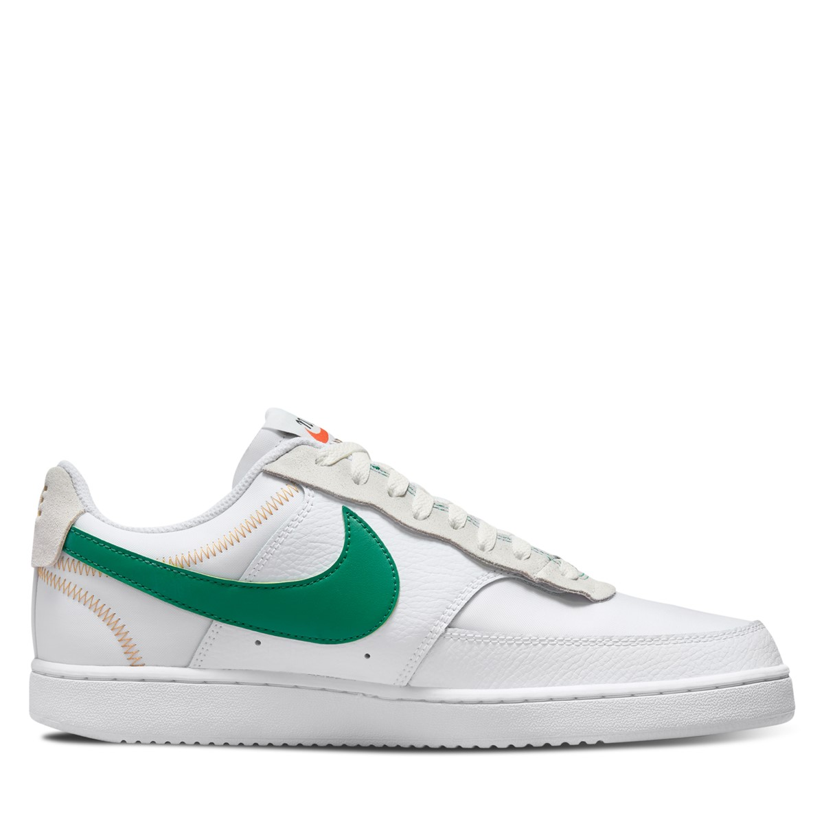 Men's Court Vision Low Premium Sneakers in White/Green