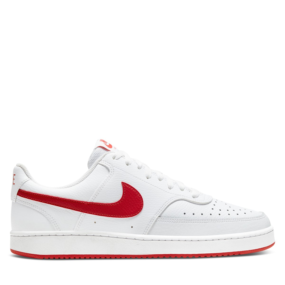 Men's Court Vision Low Sneakers in White/Red