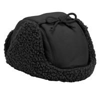 Recycled Ridge Fleece Trapper Hat in Black
