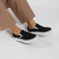 Baskets à plateforme Slip-On blanc et noir