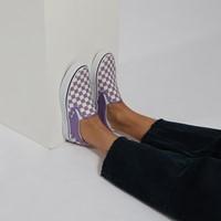 Baskets Slip-On à damier violet et blanc