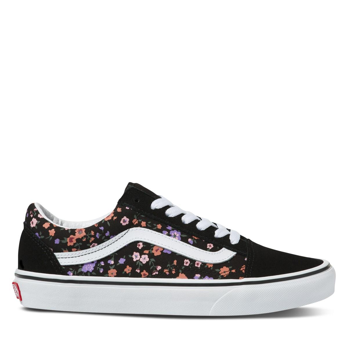 Floral Old Skool Sneakers in Black/White